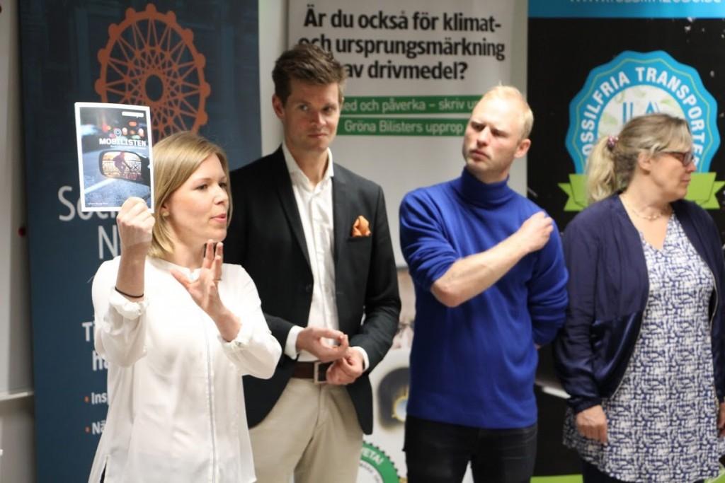 """Gröna Bilisters seminarium """"Vad främjar ett ändrat beteende som leder till hållbart resande?"""", bl.a. tillsammans med psykologen Oskar Henrikson"""